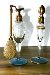 Antique Devilbiss Clear Etched Glass Blue Gold Perfume Atomizer Set 1920s