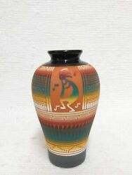 Authentic Navajo Etched Pottery 7 1/4 Tall X 4 Dia. Red Clay Pot W/kokopelli
