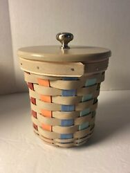 Longaberger Small Crock Canister Combo Basket Protector Lid Fun Weave