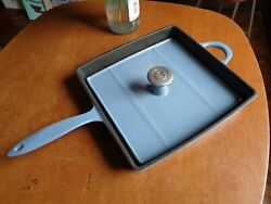 11 Square Enamel Cast Iron Grill Pan With Matching Grill Press In Light Blue