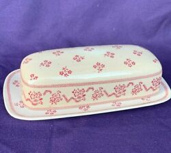 Johnson Brothers Laura Ashley Petite Fleur Burgundy Red Butter Dish And Lid ❤️sj7m