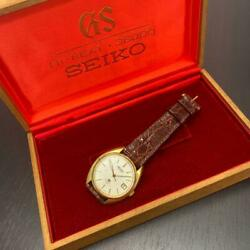 Grand Seiko 5645-7005 Gs Solid Gold Antique White Dial Menand039s Watch W/box