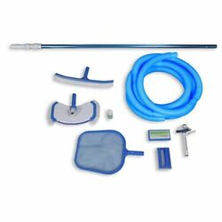 Swimming Pool Maintenance Cleaning Set With Vacuum Hose Pole Skimmer Test Strips