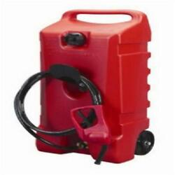 Wheeled Gas Can With Fuel Pump Handle 14 Gallon 2 Gal/minute Siphon 10 Ft Hose