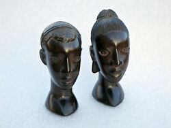 Very Rare Antique Vintage Solid Ebony Wood Carved Heads Girl And Boy