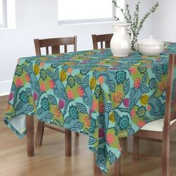 Tablecloth Bright Teal Vines Modern Happy Fun Cotton Sateen