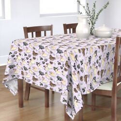 Tablecloth Lavender Pugs Funny Pug Pattern Toy Breed Group Gift Cotton Sateen
