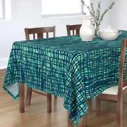 Tablecloth Vertical Lines Green Lines Teal Lines Futuristic Cotton Sateen