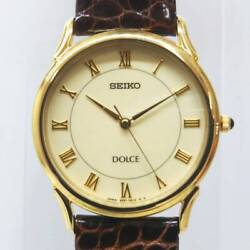 Seiko Dolce 5e61-0a10 Used Watch Back Cover 18kt Engraved Gd Qz 3 Hands Lh Hand