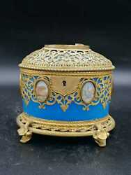 Exclusive Large Box / Box In Blue Opaline Glass With Miniatures From Paris