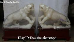 16chinese Natural White Jade Carved Up Mountain Tiger Tigers Animal Statue Pair