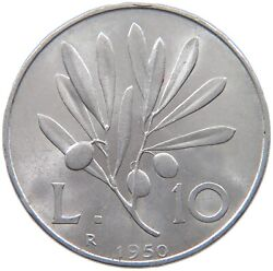 Italy 10 Lire 1950 Top A51 437