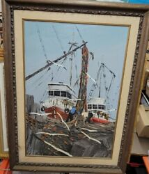 Charles J.beauvais Signed Original Boats Seascape Oil Painting On Canvas 33x46