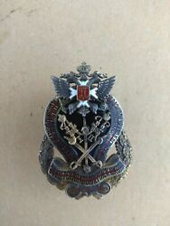 Imperial Russian. Silver Badge For The School Of The Cavalry Officers.