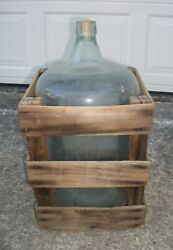 Antique 5 Gallon Carboy Glass Water Bottle Beer Wine Jug With Wooden Crate