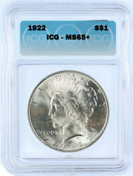 1922 Peace Liberty Head Silver Dollar - Graded Ms-65+ By Icg. Spectacular Coin.
