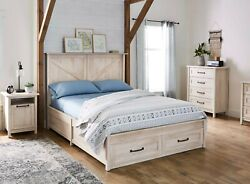 Queen Size Platform Bed Underbed Storage Pull Out Drawers Bedroom Furniture New