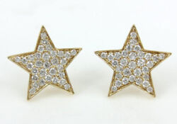 1.16ct Natural Round Diamond 14k Solid Yellow Gold Stud Screw Back Star Earring