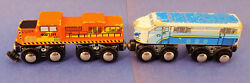 2 / Toys R Us / Magnetic / Wooden Trains / Vintage Collectible / Diesel Restore
