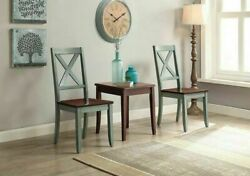 Farmhouse Dining Chairs Blue Green French Country Shabby Chic Solid Wood Set 2
