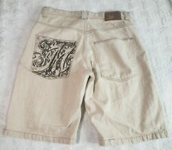 Mecca Mens Jean Shorts Size 34 Tan Embroidered Baggy Hip Hop