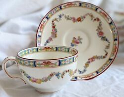 Minton Bone China, Minton Rose, Globe, Floral, Smooth, Flat Cup And Saucer Set