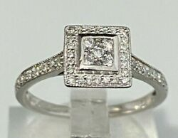 18k Solid Gold And 0.25ct Diamond Halo Cluster Ring 2.66g Size L 1/4 - 5 3/4