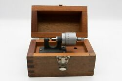 Brown And Sharpe Bench Micrometer 0-.5 In Wooden Mahogany Box No 233