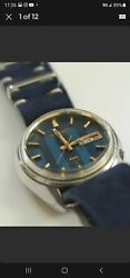 Vintage Seiko Dx Automatic Watch 6106-7629 Blue Tapestry Dial