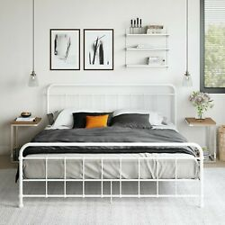 King Size Antique Style Egg White Victorian Metal Iron Bed Frame Beds Bedroom