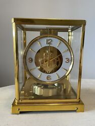 Atmos Lecoultre Jaeger 528-8/6 Clock Serial 114789 1950s Nice Gold Finish
