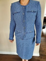 St John Knit Blue Tweed Skirt And Jacket Suit