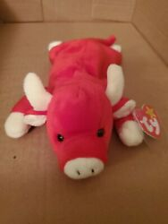 Ty Beanie Baby Red Snort The Bull Plush Toy - 4002 Good Condition With Tag
