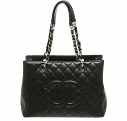 Black Quilted Caviar Leather Grand Shopping Chain Shoulder Tote Bag
