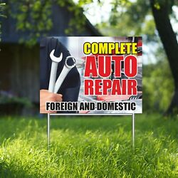 Complete Auto Repair Yard Sign Corrugate Plastic With H-stakes Foreign Domestic