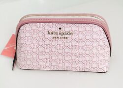 New Kate Spade Small Cosmetic Case Bag Spade Link Pink Multi NWT $69 $34.99