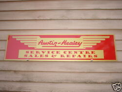 1950and039s Austin Healey British Sports Car Dealer/service Sign/ad 1and039x46 Garage Art