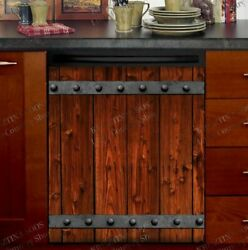 Kitchen Dishwasher Magnet Cover - Rustic Farmhouse Barn Wood Door