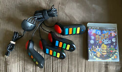 Set Of 4 Wired Buzz Controllers And New Quiz World Game Sony Playstation 3 Ps3