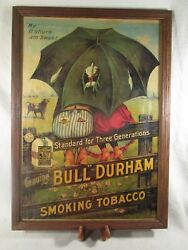 Rare Original Antique Bull Durham Tobacco Poster W/ Certificate Mounted On Back