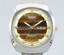 Unused Ricoh Tiger Eye V6 Cushion Case Automatic Vintage Watch 1970and039s