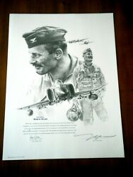 Almost Gone Robin Olds F4 Portrait John Shaw Signed By Olds P-51 Ace Wwii