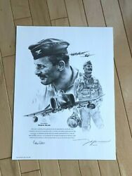 Robin Olds Signed F4 Portrait John Shaw P-38 Lightning P51 Mustang Ace Wwii