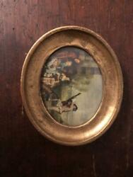 Antique / Italian / Oil Painting / Vintage 1960s / Small In A Gold Colored Frame