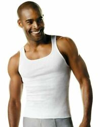 Hanes Menand039s Big And Tall White Ribbed Tank Top Undershirt 4-pack