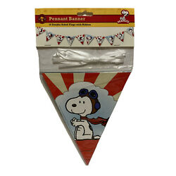 Snoopy Pilot Peanuts Pennant Banner 10 Double Sided Flags With 10' Of Ribbon