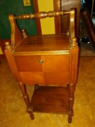 Antique Hand Crafted Wood Tobacco Keeper Humidor Copper Lined Smoking Stand