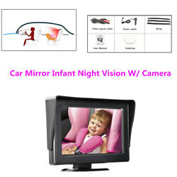4.3night Vision In Rear Baby Car Mirror W/camera View Infant Facing Seat 12-24v