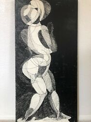 🔥 Antique Mid Century Modern Abstract Cubist Oil Painting - Frank R. Marsh, 60s