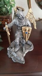 Michael Ricker St. Michael And Dragon Pewter And Gold Figurine Price Reduced